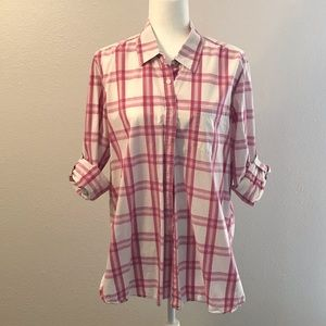 Moda International Plaid Button Down Shirt XL
